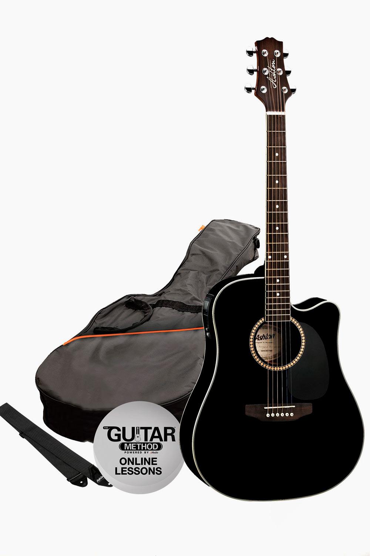 Guitarra acustica amplificada cutaway con funda