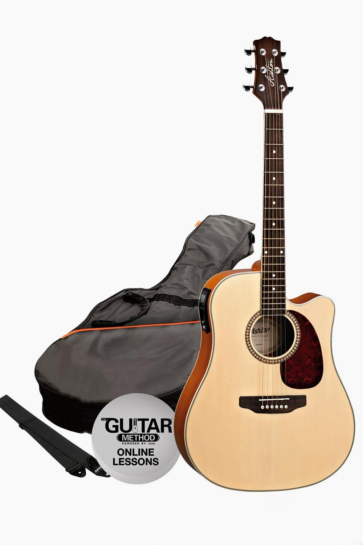 Guitarra Electroacustica Asthon con funda