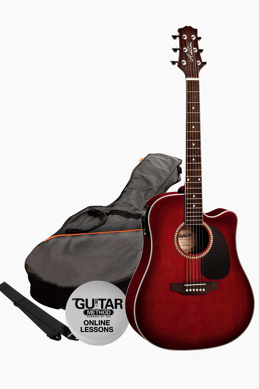 Guitarra electroacustica rojo vino asthon con funda