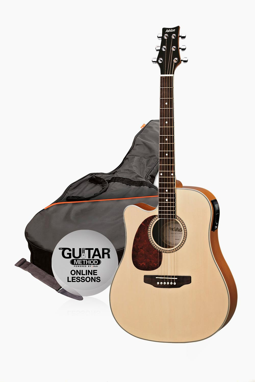 Guitarra electroacustica zurdos natural mate con funda asthon