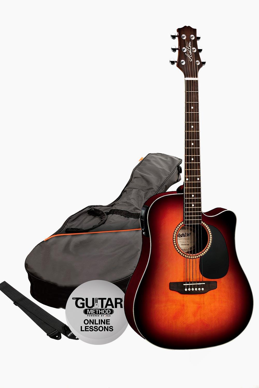 Pack guitarra acustica amplificada sunburst con funda