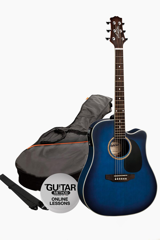 Pack guitarra electroacústica azul con funda asthon