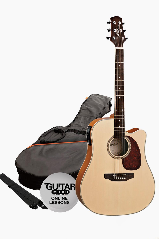 Pack guitarra electroacustica mate natural asthon con funda