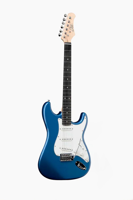 Guitarra eléctrica azul metálico eko strato S300