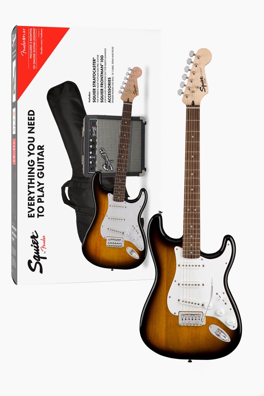 Pack Guitarra eléctrica fender squier stratocaster sunburst
