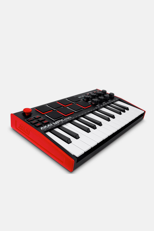 Teclado controlador akai mpk mini mk3 negro y rojo